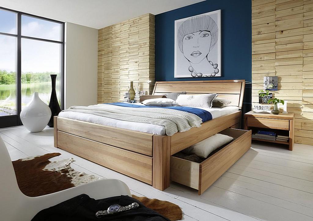 schubladenbett 200x200 beine 3 komforth he kopfteil 1 2 seitenschubladen kernbuche ge lt. Black Bedroom Furniture Sets. Home Design Ideas