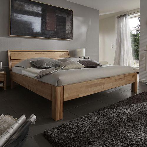 Bett 90x200 Kernbuche massiv Einzelbett geölt parkettverleimt – Bild 1