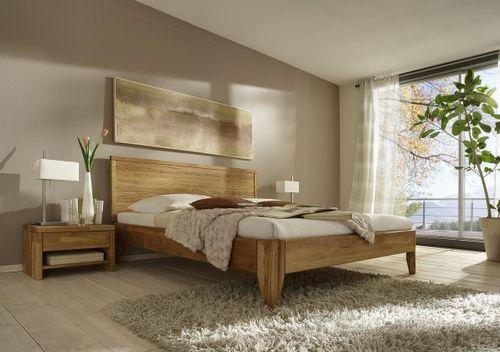 Eichebett 100x200 Wildeiche massiv Einzelbett Normalhöhe geölt – Bild 2