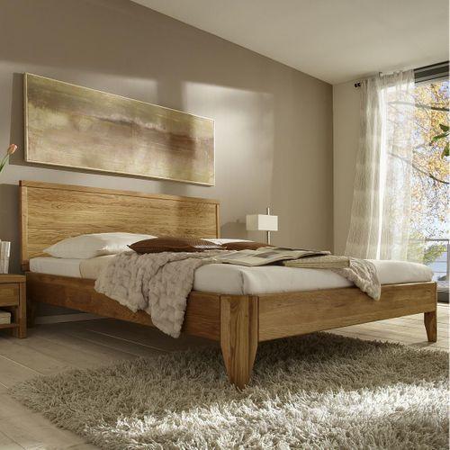 Eichebett 140x200 Wildeiche massiv Doppelbett Normalhöhe geölt – Bild 1