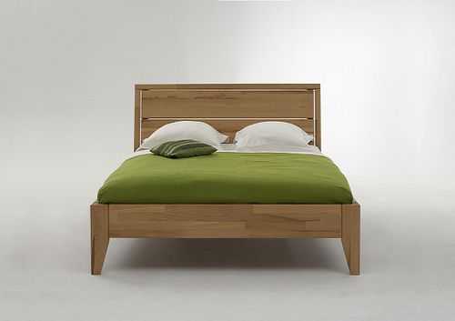 Einzelbett 120x200 Kernbuche massiv Bett geölt parkettverleimt – Bild 1