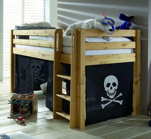 Spielbett 90x200 Hochbett Kinderbett Vorhang Pirat Kiefer massiv – Bild 1