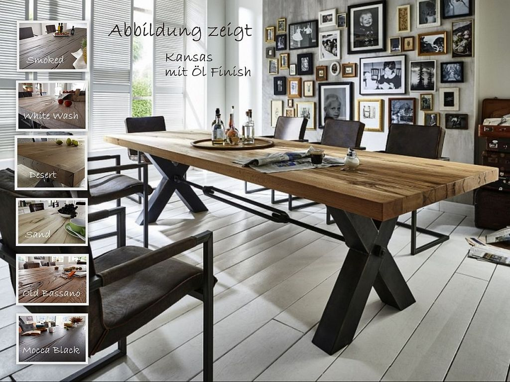 Balkeneiche Tisch 240x100 Kansas Rustic Oak Eisen Antik