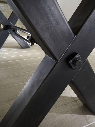 Sitzbank 260 cm Industriedesign Kansas Balkeneiche Stahl – Bild 3