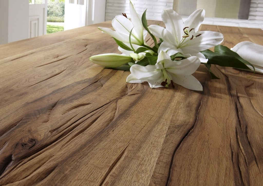 Baumkante Tisch 180x100 Stahl X-Beine – Bild 4