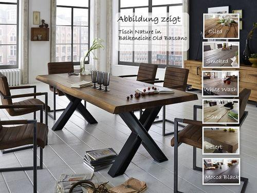 Baumkante Tisch 180x100 Stahl X-Beine – Bild 1