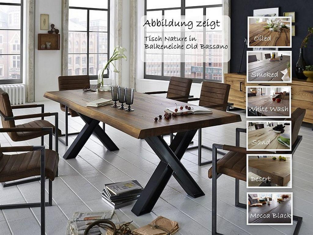 Baumkante Tisch 200x100 Stahl X-Beine – Bild 1