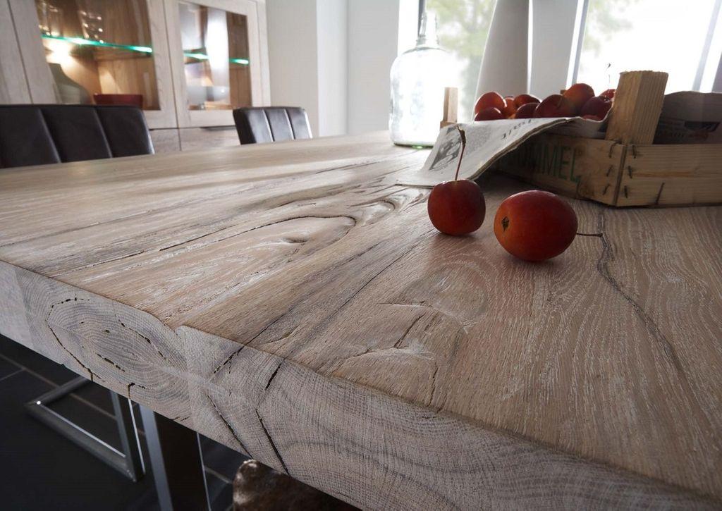 Baumkante Tisch 220x100 Stahl X-Beine – Bild 6