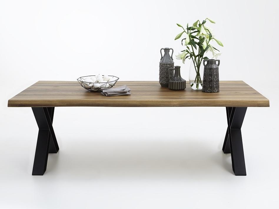 Baumkante Tisch 220x100 Stahl X-Beine – Bild 3