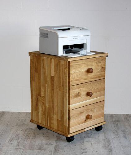 Rollcontainer Buche Eiche massiv Druckerschrank mit Schubkästen – Bild 1