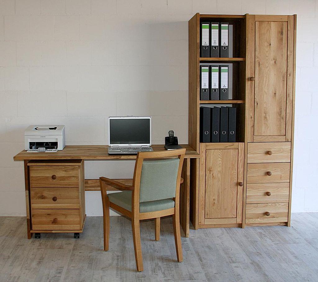 Arbeitszimmer 3teilig Büromöbel Eiche massiv geölt – Bild 1