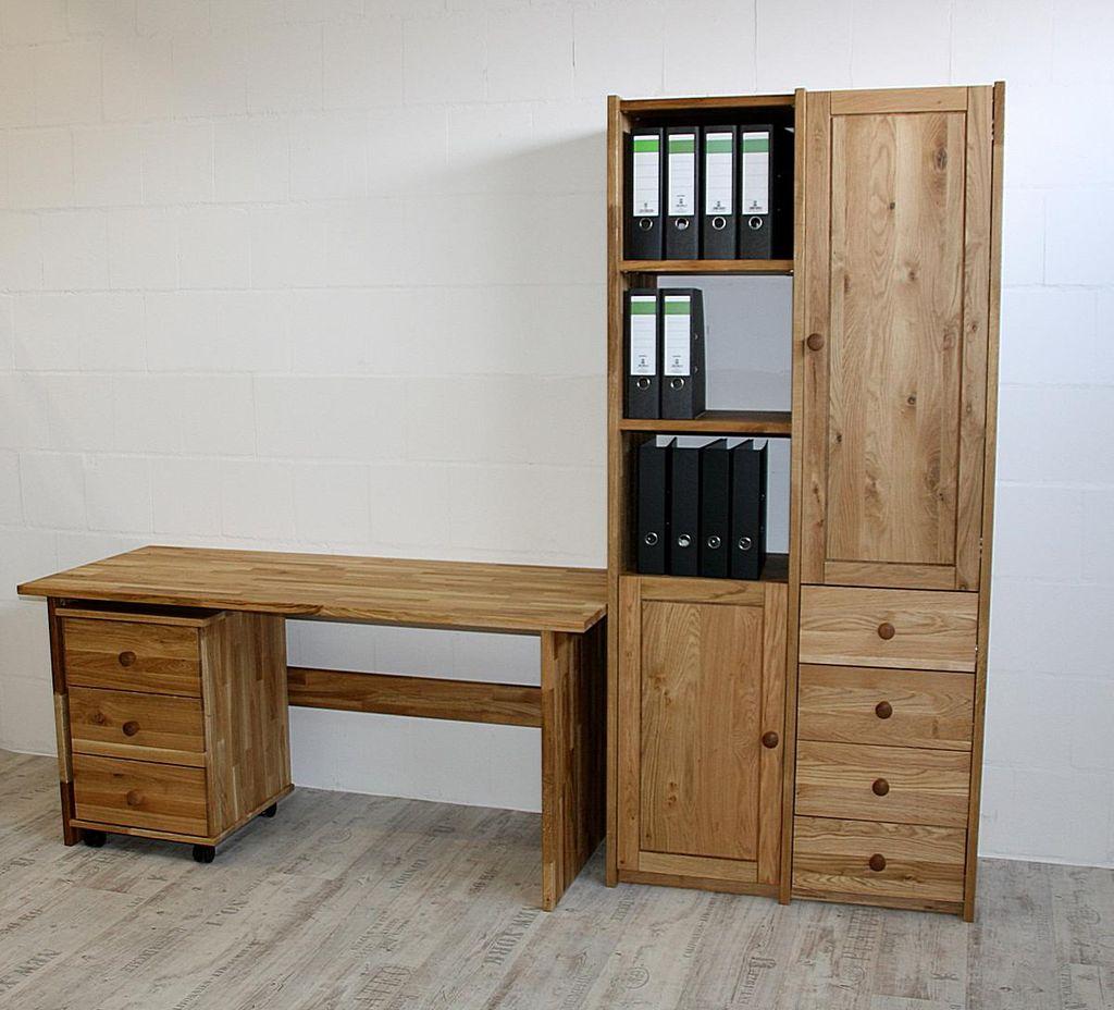Arbeitszimmer 3teilig Büromöbel Eiche massiv geölt – Bild 2