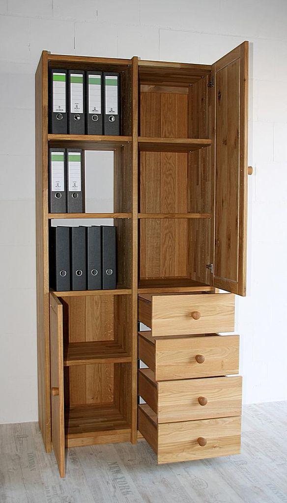 Arbeitszimmer 2teilig Büromöbel Eiche massiv geölt – Bild 4
