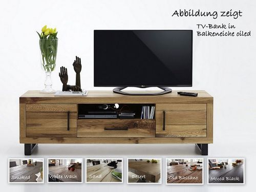 TV-Bank Balkeneiche massiv 180 cm Nature – Bild 1