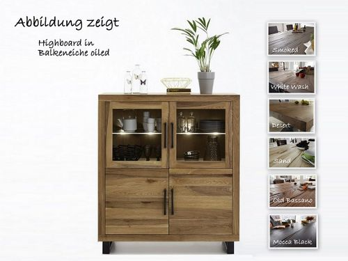Highboard Balkeneiche rustikal Nature – Bild 1