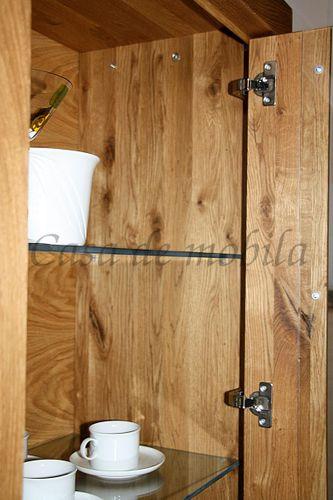 Vitrine Wohnzimmerschrank Ureiche Glasschrank rechts massiv geölt – Bild 5