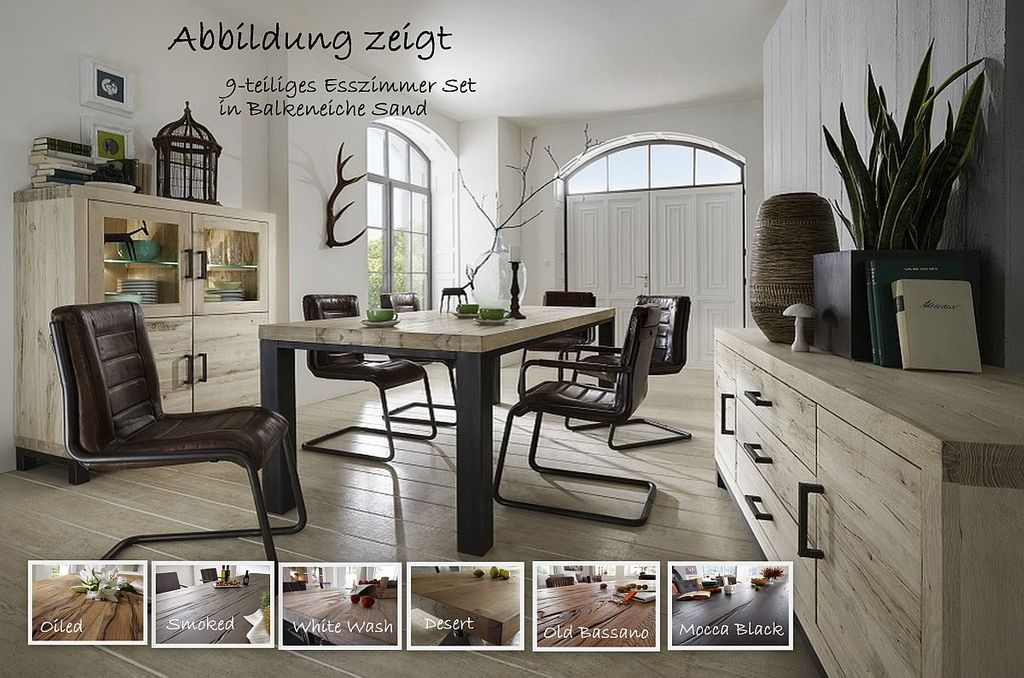 esszimmer set 9teilig balkeneiche massiv esstisch 200 cm. Black Bedroom Furniture Sets. Home Design Ideas
