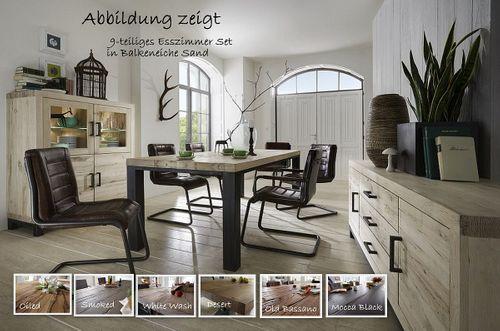 Esszimmer komplett 11 teilig Tisch 300 Balkeneiche rustikal – Bild 1
