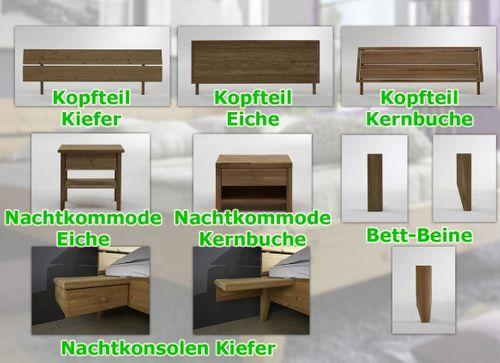 Bett 100x200 Eiche massiv Einzelbett geölt – Bild 4