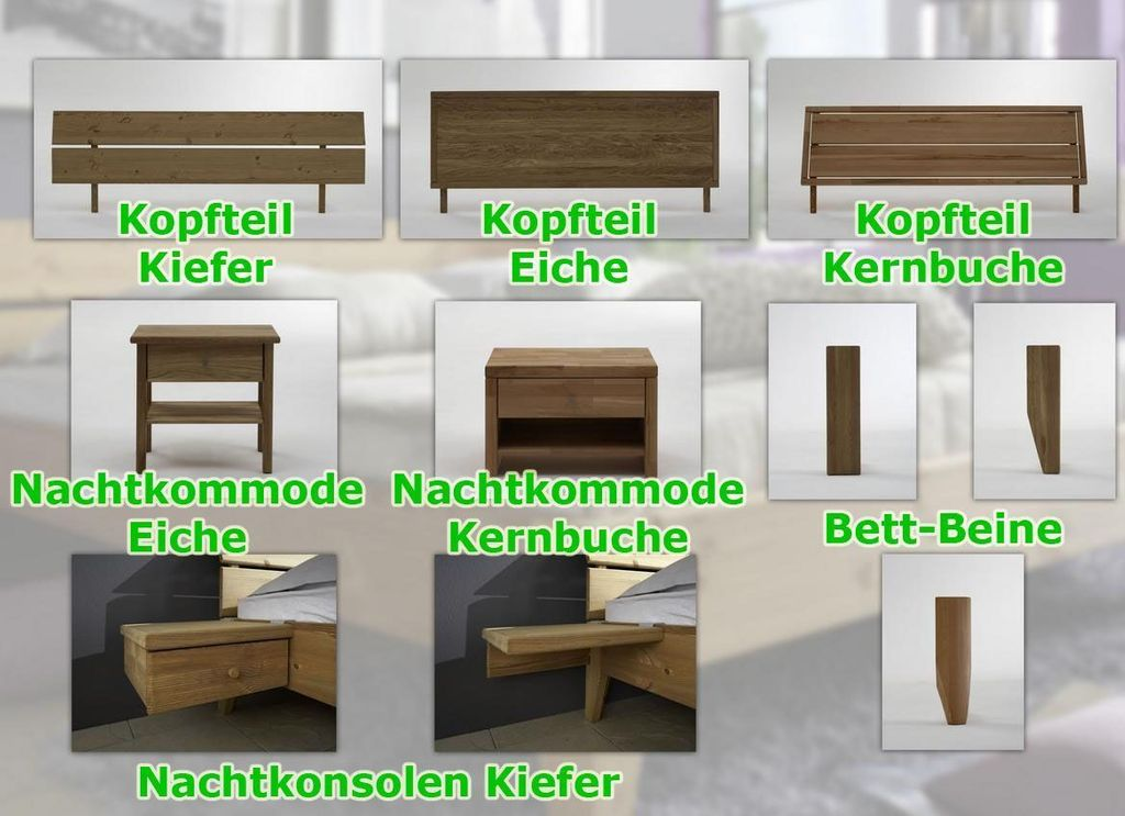 bett 120x200 beine 1 komforth he kopfteil 1 eiche ge lt. Black Bedroom Furniture Sets. Home Design Ideas