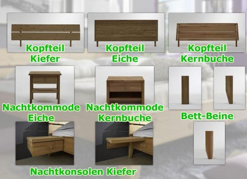 Bett 100x200 Eiche Komfortbett massiv Einzelbett geölt – Bild 4