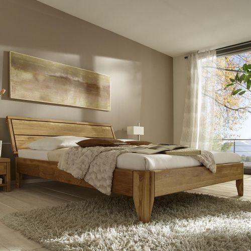 Bett 90x200 Eiche Komfortbett massiv Einzelbett geölt – Bild 1