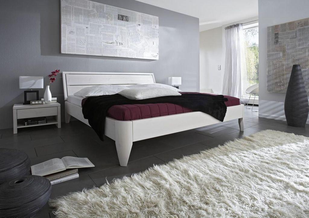 bett 100x200 beine 1 normalh he kopfteil 1 kiefer wei. Black Bedroom Furniture Sets. Home Design Ideas