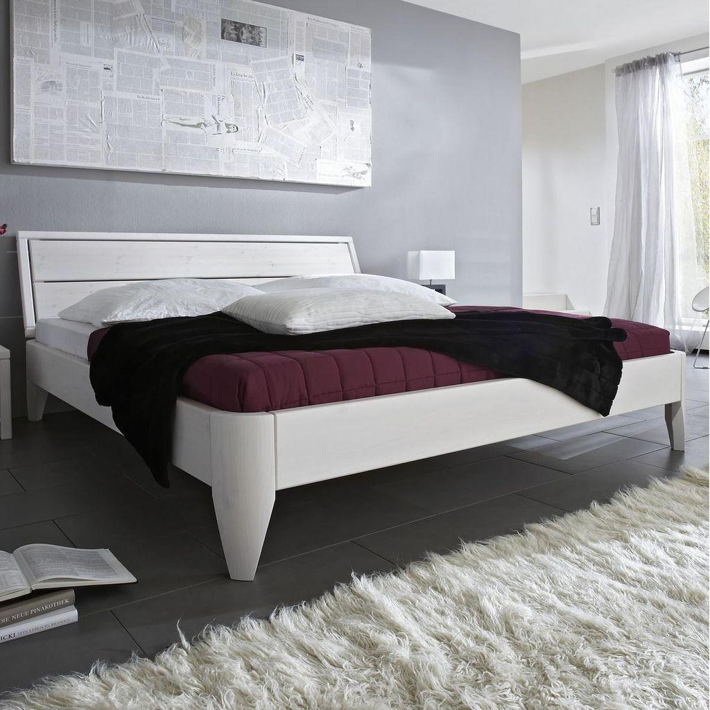bett 120x200 beine 1 komforth he kopfteil 1 kiefer wei lackiert. Black Bedroom Furniture Sets. Home Design Ideas