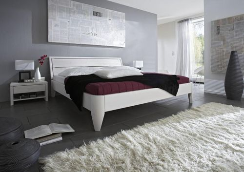 Bett 120x200 Kiefer Komfortbett weiß massiv Einzelbett lackiert – Bild 2