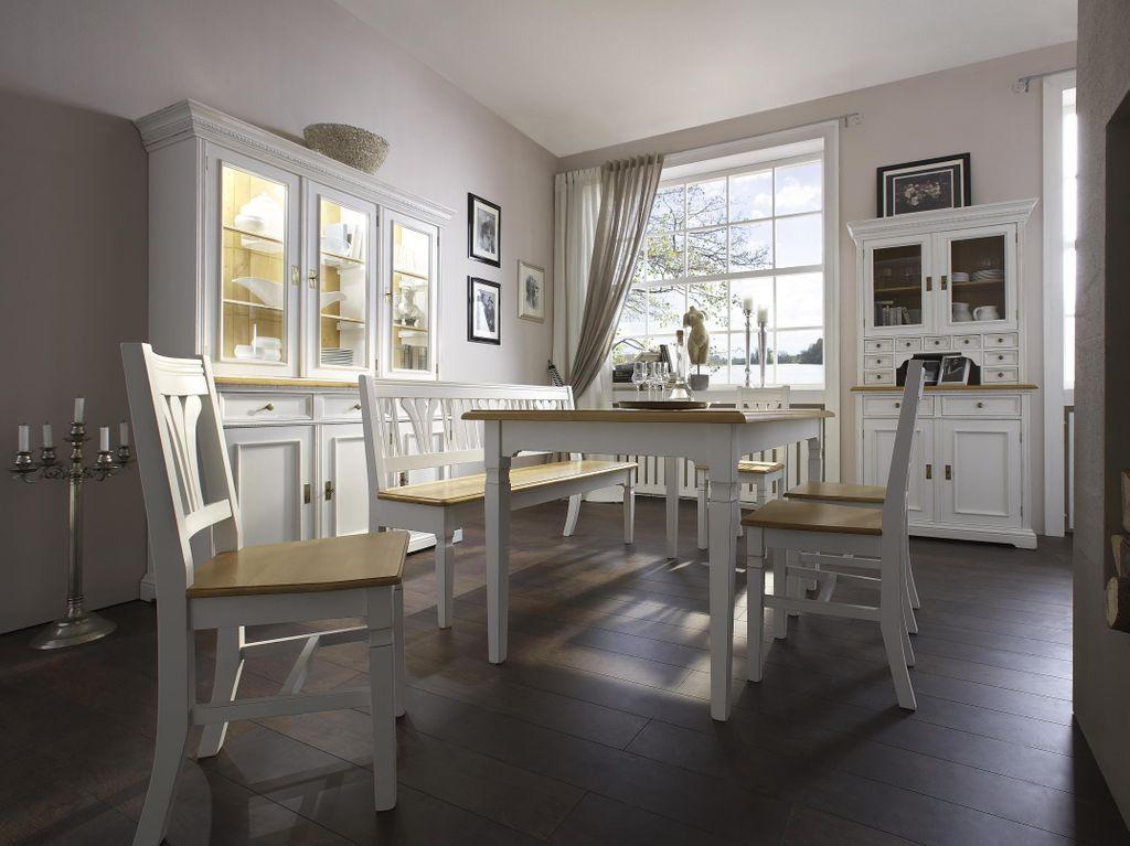 landhausstil esstisch 200x90x77 antikwei lackiert. Black Bedroom Furniture Sets. Home Design Ideas