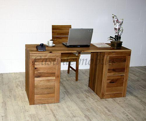Schreibtisch Zerreiche massiv Natur geölt – Bild 4