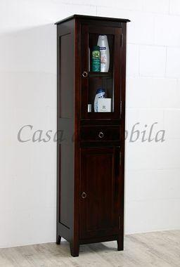 Badschrank 43x166x37cm, 1 Glastür, 1 Holztür, 1 Schublade, Pappel massiv nussbaumfarben lackiert