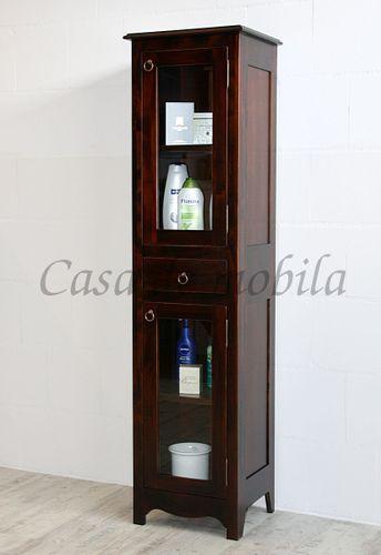 Badvitrine nussbaumfarben Badschrank Badezimmerschrank Massivholz – Bild 1