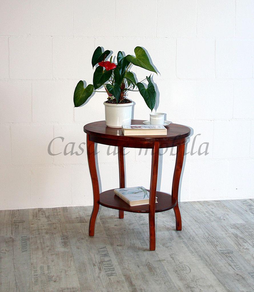 Tisch Beistelltisch Teetisch oval 57 cm kirschbaumfarben – Bild 5