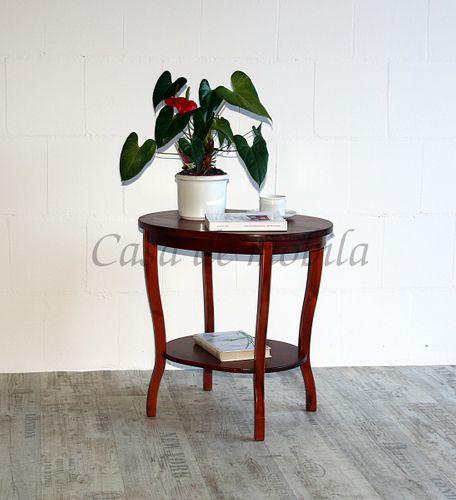 Tisch Beistelltisch Teetisch oval 57 cm kirschbaumfarben – Bild 2