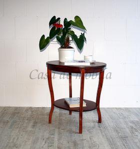 Tisch Beistelltisch Teetisch oval 57 cm kirschbaumfarben 001