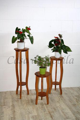Beistelltisch-Set Blumentische Blumenhocker Massivholz  honigfarben – Bild 1