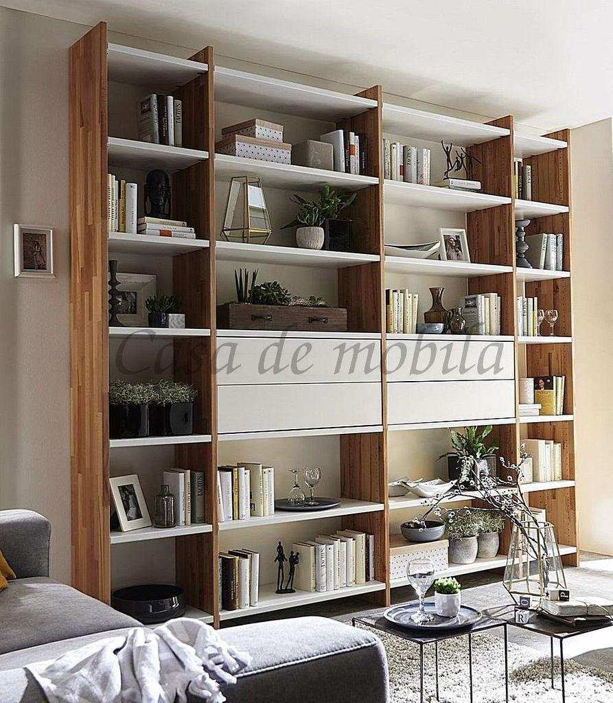 Regalwand Schrankwand Massivholz Bücherregal weiß Kernbuche – Bild 1