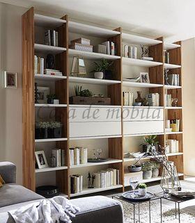 Regalwand Schrankwand Massivholz Bücherregal weiß Kernbuche 001