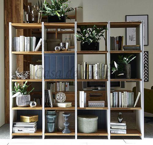 Raumteiler Massivholz Bücherregal weiß grau Wohnzimmerregal Wildeiche – Bild 1