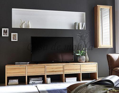 Wohnwand 2teilig Lowboard Hängeschrank Massivholz Kernbuche geölt – Bild 1