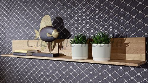 Wandregal 165 cm Zerreiche Massivholz Natur geölt – Bild 2