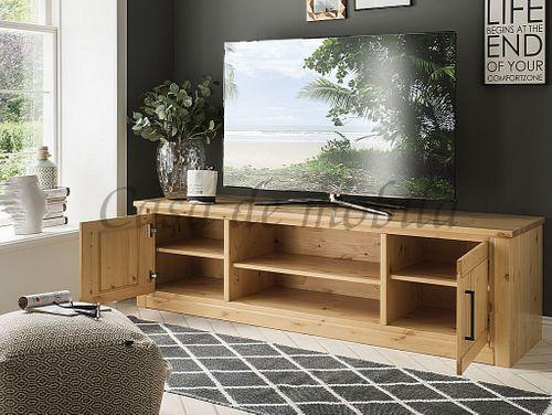TV-Board mit Nische und Schubladen Kiefer massiv sandfarben gebeizt lackiert – Bild 2