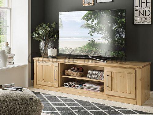 TV-Board mit Nische und Schubladen Kiefer massiv sandfarben gebeizt lackiert – Bild 1