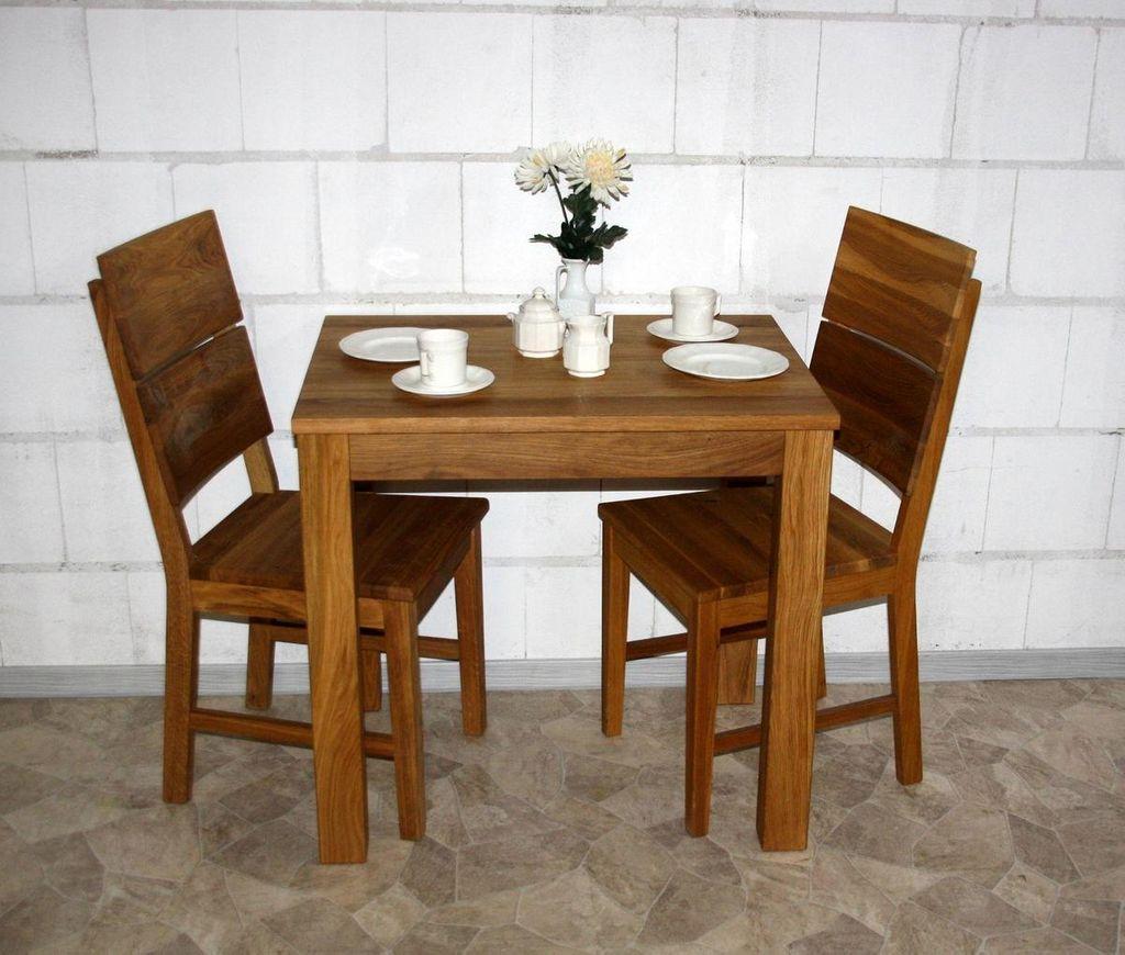 Essgruppe 3teilig, Esstisch 80x60, 2 Stühle, Wildeiche geölt