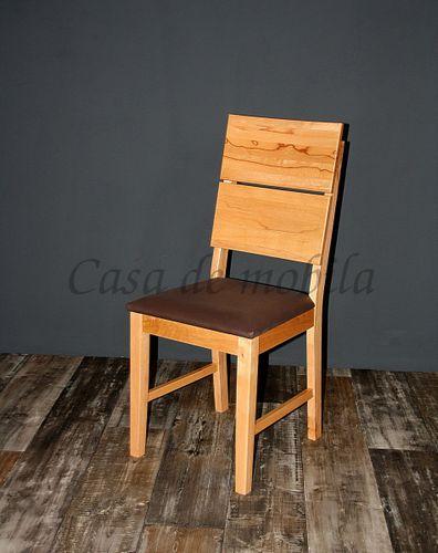 Polsterstuhl Stuhl gepolstert Kernbuche massiv lackiert Vollholz Stühle – Bild 1