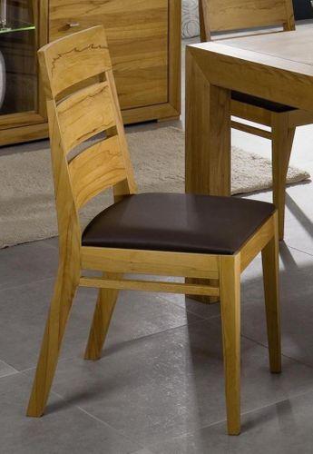 Polster-Stuhl Kernbuche mit Kunstlederbezug braun Esszimmerstuhl Buche – Bild 8
