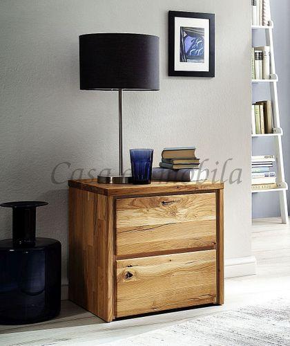 Nachtkommode rustikale Wildeiche geölt Massivholz Nachttisch – Bild 1