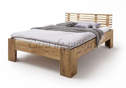 Bett 140x200 rustikale Wildeiche geölt Doppelbett Vollholz – Bild 1