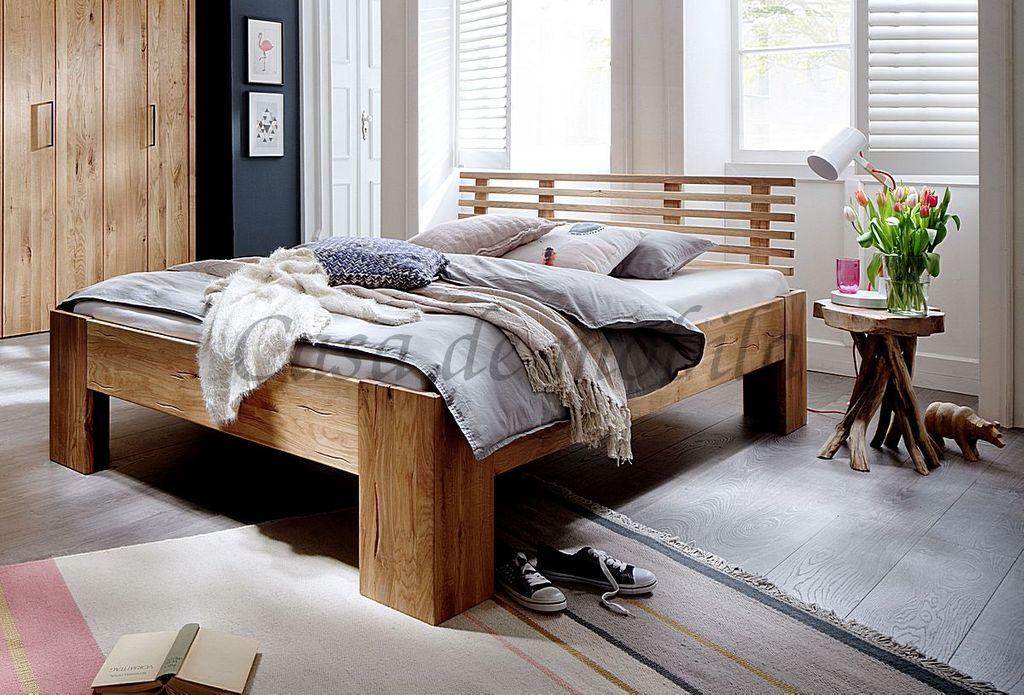 Bett 160x200 Kopfteil Mit 6 Leisten Rustikale Wildeiche Geolt